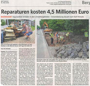 Bergedorfer Zeitung 16.5.18 - Reparaturen kosten 4,5 Mio Euro