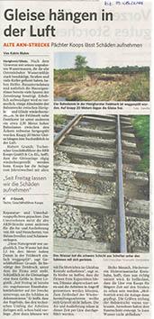 Bergedorfer Zeitung 19.5.2018 Gleise hängen in der Luft
