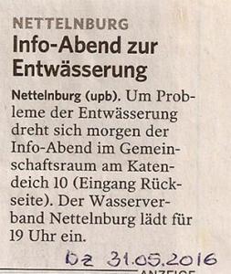Bergedorfer Zeitung 31.5.16 - Info-Abend zur Entwässserung