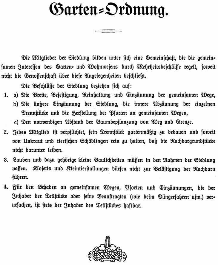 Gartenordnung von 1922 für Nettelnburg