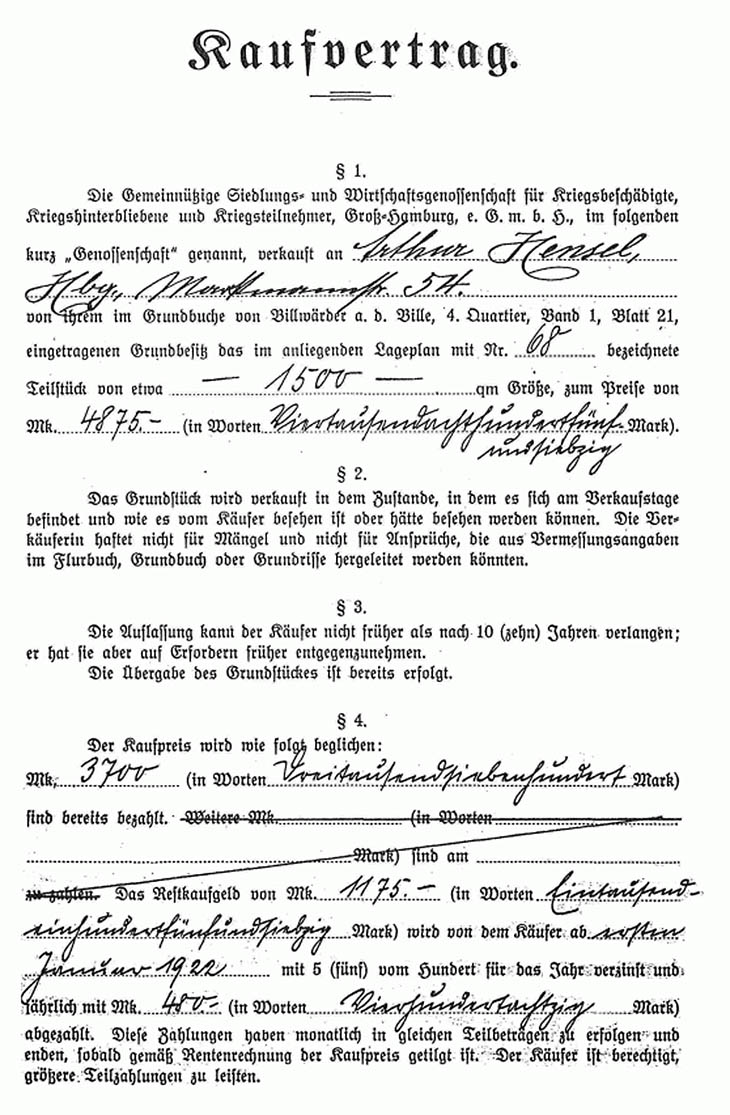 Kaufvertrag für ein Grundstück in Nettelnburg von 1922 Seite 1