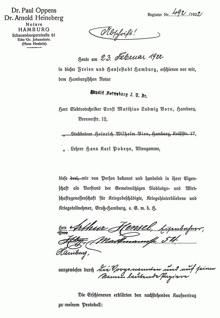 Kaufvertrag für ein Grundstück in Nettelnburg von 1922 Vorwort