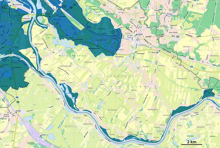Überschwemmungsgebiet der Sturmflut von Februar 1962 im Bezirk Bergedorf