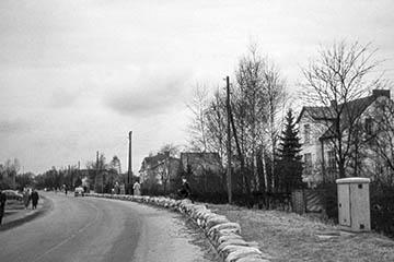 Sandsackbarriere am Oberer Landweg, Elbe Sturmflut 16.-17.2.1962