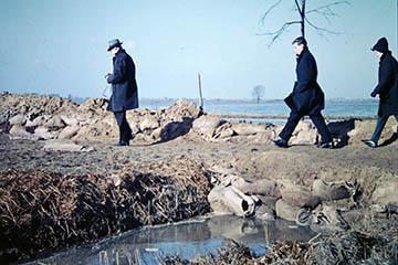 Sandsackbarriere Oberer Landweg, Kreuzung Hackmackbogen, Elbe Sturmflut 16.-17.2.1962