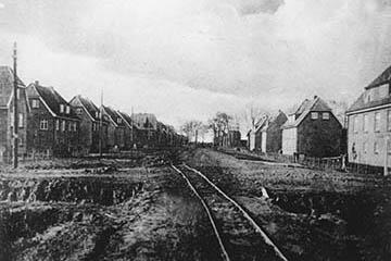 Bau der Siedlung Nettelnburg 1928-1930, Schienenbahn für den Materialtransport