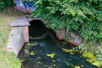 Die Kampbille unterquert den Bahndamm am Wehrdeich in Hamburg Nettelnburg, Foto: Wasserverband Nettelnburg