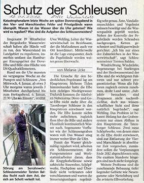 Bergedorfer Zeitung 12.01.12 - Schutz der Schleusen