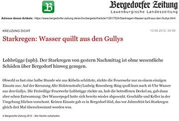 Bergedorfer Zeitung 13.6.12 - Starkregen, Wasser quillt aus den Gullys