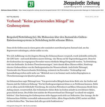 Bergedorfer Zeitung 16.3.12 - Verband, Keine gravierenden Mängel im Grabensystem