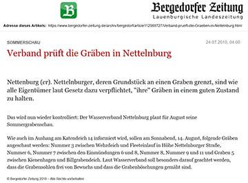 Bergedorfer Zeitung 24.7.10 - Verband prüft die Gräben in Nettelnburg