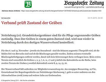 Bergedorfer Zeitung 3.11.10 - Verband prüft Zustand der Gräben