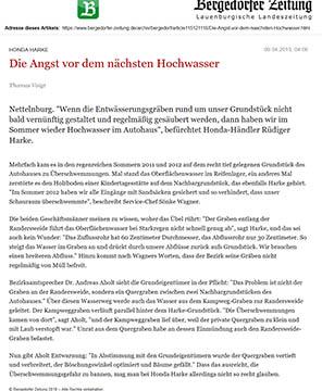 Bergedorfer Zeitung 9.4.13 - Die Angest vor dem nächsten Hochwasser