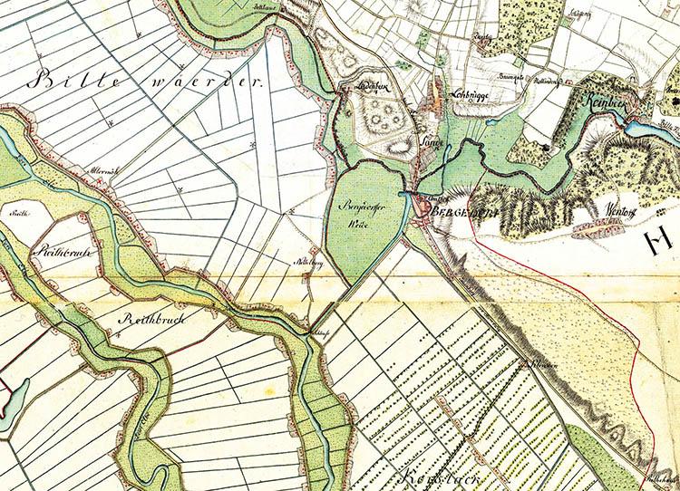 Karte der Ursiedlung von Nettelnburg. Auszug aus den alten Vahrendorf Karten