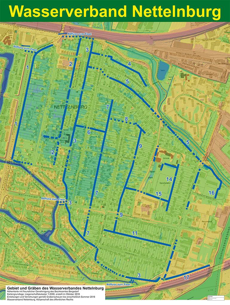 Nettelnburg Grabensystem grob mit Höhenlagen